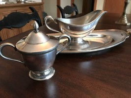 Community Plate Grosvenor bread tray, Silverplated gravy boat and sugar ... - $39.59