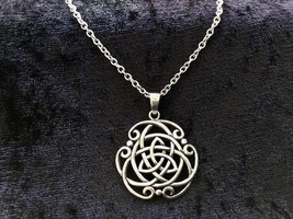 Large 925 Sterling Silver Celtic Trinity Triquetra Knot Pendant Necklace... - $39.59