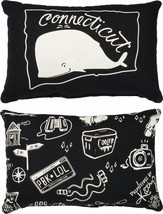 Connecticut State Pillow Primitives by Kathy Black White Whale - $11.95