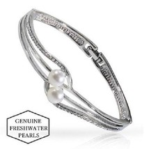 18K White Gold Genuine Freshwater Pearl Swirl Bangle - $8.79