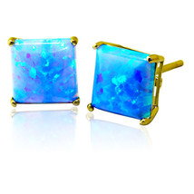 4mm 5mm 6mm 7mm 14K SOLID YELLOW GOLD PRINCESS CUT LIGHT BLUE OPAL STUD ... - $44.01+
