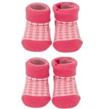 Tartan Infant Anti Skid Slip Baby Newborn Shocks Toddler Shoes 2 Pack Rose image 2