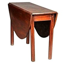 Rare 18th C English Chippendale Mahogany Drop Leaf Table Console End Ant... - $3,592.57