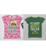 John Deere Toddler Girls Green Daddy or Pink Tractor T-Shirts 2T, 3T or ... - $10.49