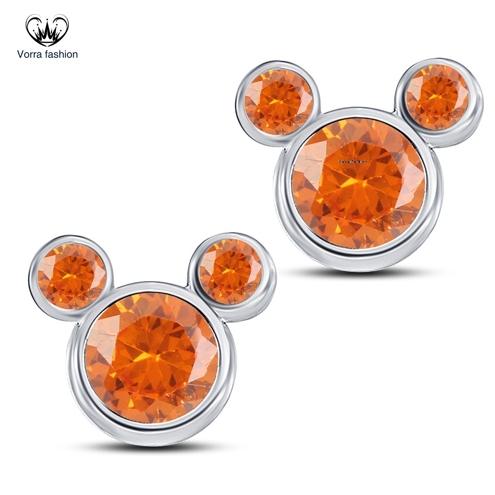 Primary image for Orange Sapphire Women's Micky Mouse Earrings Pure 925 Silver 14k White Gold Over