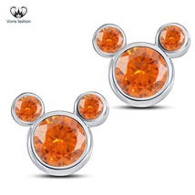 Orange Sapphire Women's Micky Mouse Earrings Pure 925 Silver 14k White G... - £26.18 GBP