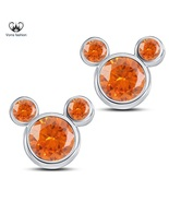 Orange Sapphire Women's Micky Mouse Earrings Pure 925 Silver 14k White G... - £27.06 GBP