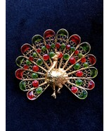 50s Gold Wash 800+ Silver Filigree Red & Green Enamel Peacock Figural Gi... - $95.00
