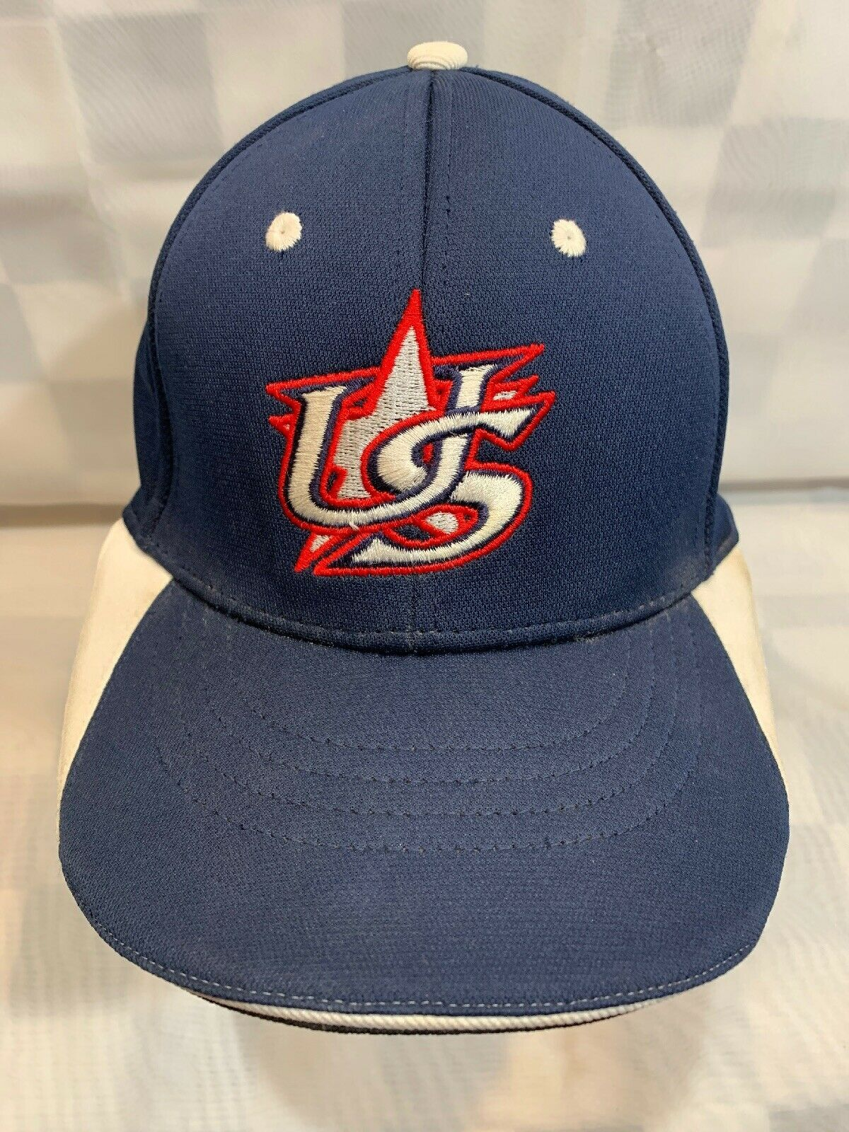 Primary image for US Star Blue White Red Fitted M/L Adult Baseball Ball Cap Hat