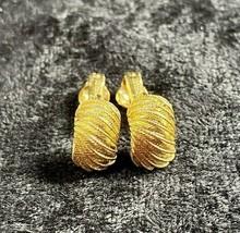 Vintage Crown Trifari Gold Tone Huggie Clip On Earrings Signed Textured - $19.79