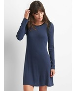 GAP Women Navy Blue Black Colorblock Ribbed Long Sleeve Crew Neck Swing Dress M - $34.60