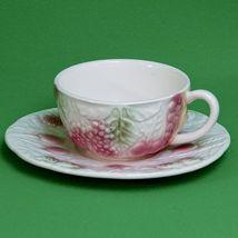 Vintage Salins Les Bains (France) Majolica Cup & Saucer Set, Fruit And B... - $3.95