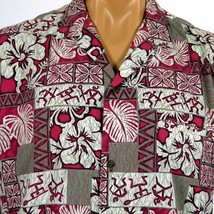 Vintage Royal Creations Hawaiian Shirt Mens L Petroglyphs Hibiscus Monst... - $28.04