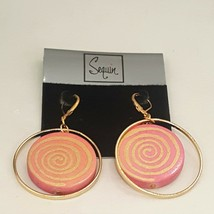 SEQUIN GOLD PLATED PINK LEVER BACK DROP EARRINGS  - $12.99