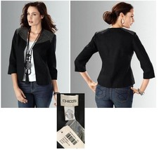 Chico's Black Chained Galloway Jacket NWT 3-L - $82.00