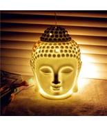 Buddha Head Ceramic Aroma Oil Burner Diffuser Indian Incense Tibetan Orn... - $22.97