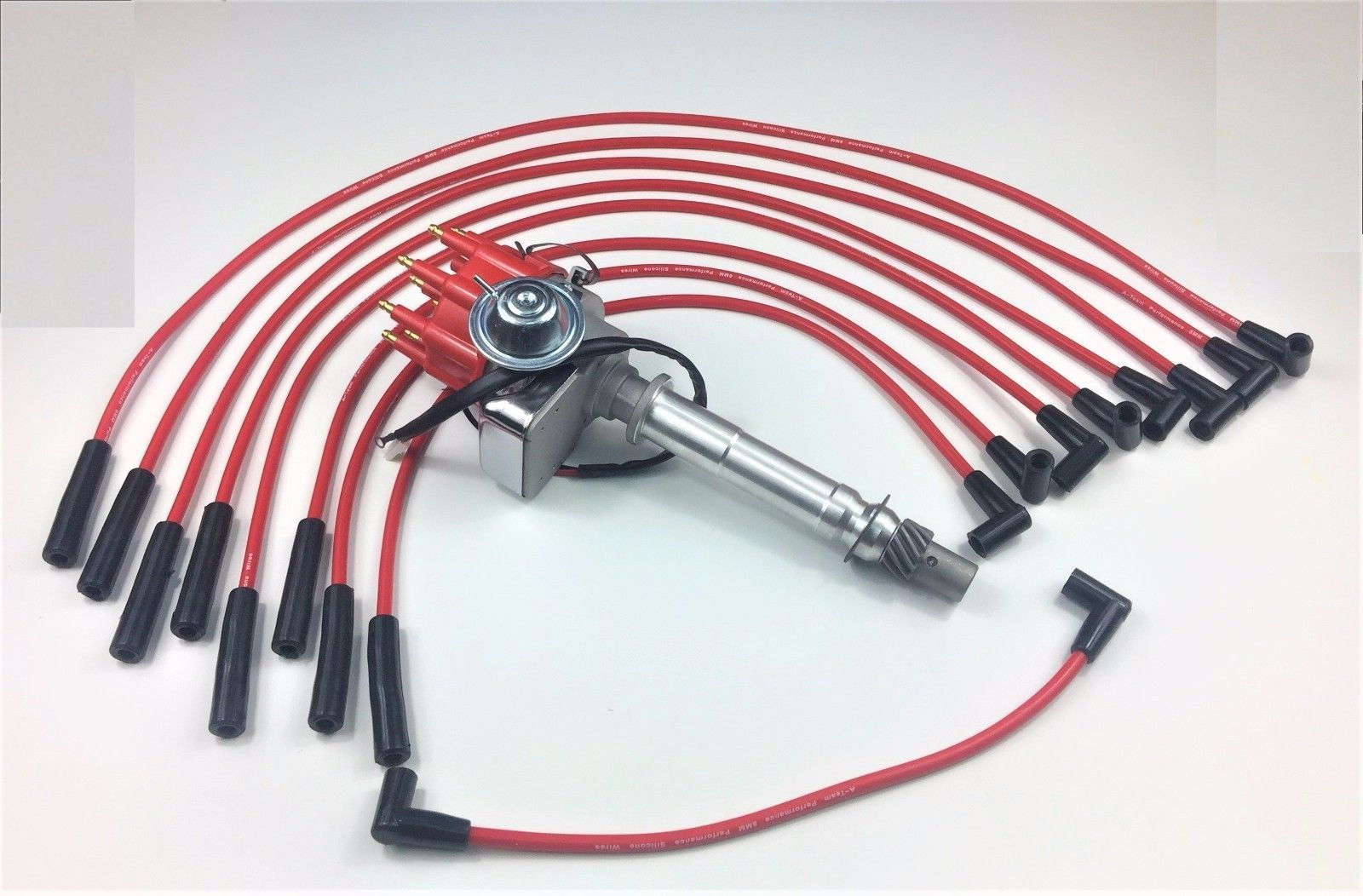BBC CHEVY 396 454 SMALL CAP DISTRIBUTOR + RED 8mm SPARK PLUG WIRES STRAIGHT BOOT