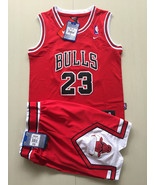 Youth Micheal jordan #23 bulls red jersey and short set swingman suit je... - $45.99