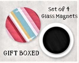 Stripes Large Glass Gem Magnet Set - GIFT BOXED - Kitchen / Office / Loc... - $7.95