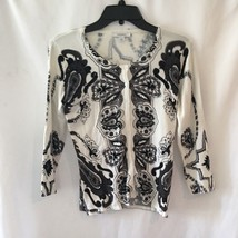 dress barn Woman Button Down Cardigan SZ S Embroidered Print Beads Black... - $21.35