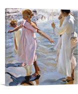 ARTCANVAS Time for a Bathe - Valencia 1909 Canvas Art Print by Joaquin S... - $41.99+