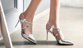ps387 elegant strappy pointy sandals, patent leather , Size 4-8.5, silver - $42.80