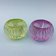CANDLE HOLDERS x2 WATERFORD MARQUIS LEAD CRYSTAL Ribbed Votive Tea Lights - £40.77 GBP