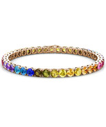 925 Sterling Silver 4mm Gold Plated Multicolor Rainbow CZ Tennis Bracele... - $64.98