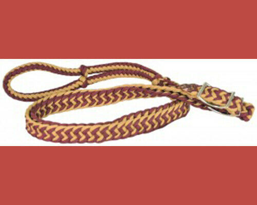 Direct Equine Poly Barrel Reins Burgundy and Tan