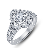 White Gold Plated Women's Engagement Ring Round Cut Lab Created Diamond - $72.99