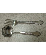 ONEIDA COMMUNITY SATINIQUE STAINLESS FLATWARE GRAVY LADLE & MEAT SERVING FORK - $17.06