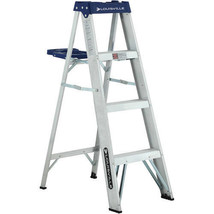 Ladder Fire Exit Louisville Ladder 4' Aluminum Durable Non Slip Heavy Du... - $40.06