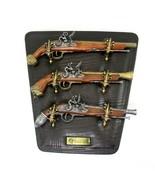 Denix Replicas Flintlock Pistol Set of 3 on Mounted Wall Display Plaque ... - $149.95