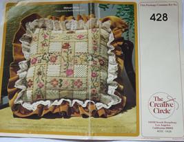 Vintage Creative Circle Ribbon Pillow Needlepoint Kit 1979 Canvas Yarn N... - $29.69