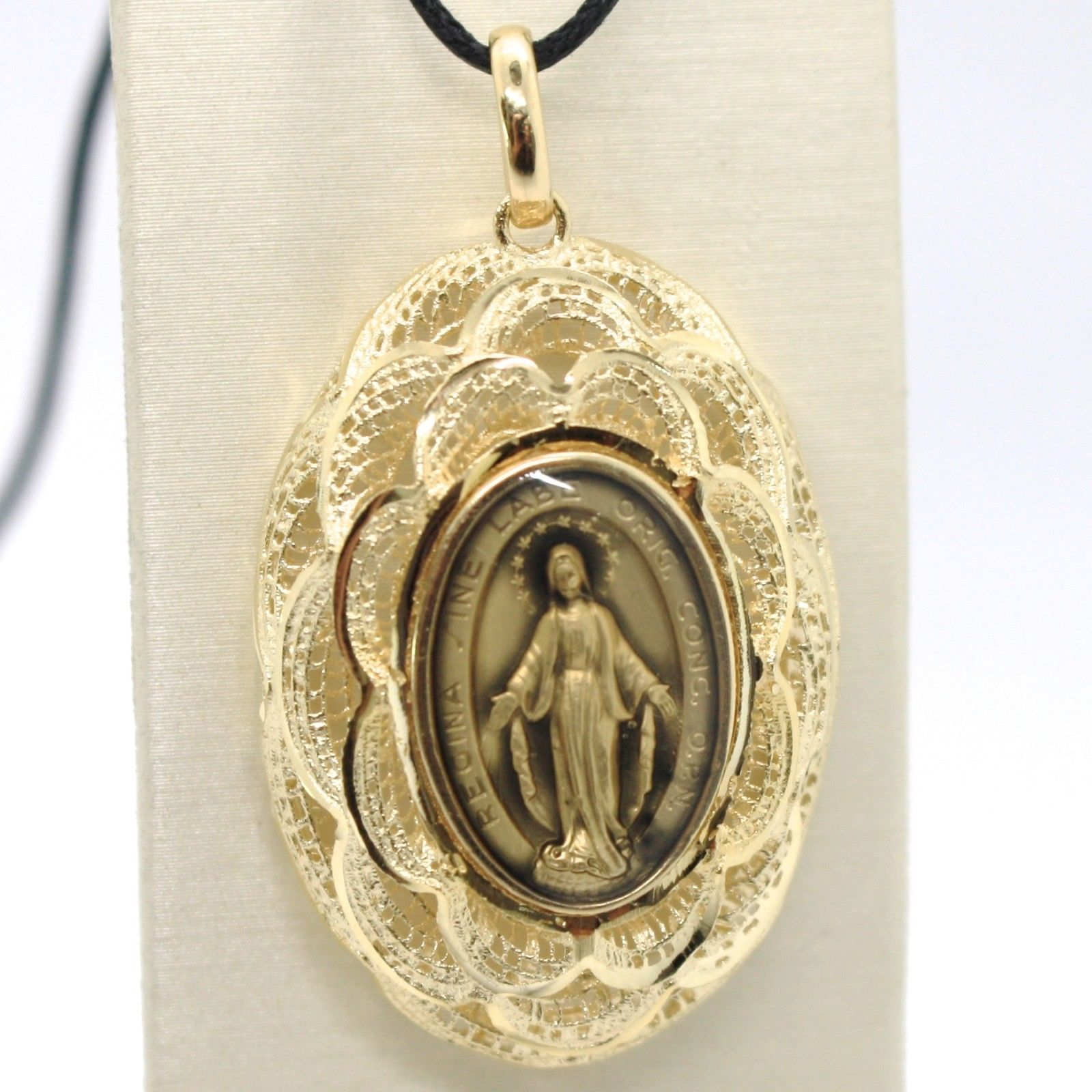 18K YELLOW GOLD BIG MIRACULOUS MEDAL, PENDANT VIRGIN MARY, MADONNA, FLORAL FRAME
