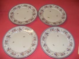 "4 Rosenthal 8.25"" Salad Plates Blue Gray Trim Multicolor Flowers Orange Pink - $24.95"