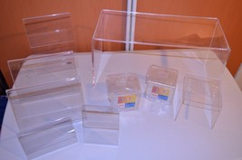 LOT 9 ACRYLIC plastic retail store DISPLAY RISER SHOWCASE sign STAND holder - $28.02