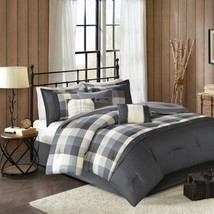 7pc Rustic Grey & Ivory Buffalo Plaid Comforter Set AND Decorative Pillows - $2.882,45 MXN+