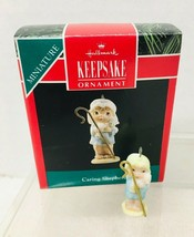1991 Caring Shepherd Mini Hallmark Christmas Tree Ornament MIB w Price tag  - $9.41