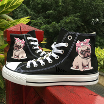 Unisex High Top Converse Original Design Dog Pug Black Canvas Shoes Snea... - $119.00