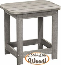PolyTEAK Compact Outdoor Side Table, Stone Gray | Weather Resistant, Pat... - $164.29