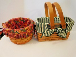 "Longaberger Basket set smaller baskets one 6"" round and one rectangular ... - $39.59"