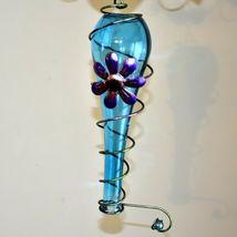 Painted Metal Owl & Blue Glass Bottle Garden Hanging Hummingbird Nectar Feeder image 4