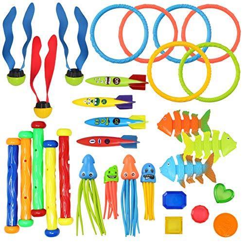 JOYIN 30 Pcs Diving Pool Toys Jumbo Set Includes 5 Diving Sticks, 6 Diving Rings