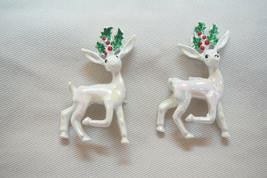 2 Vintage Avon Heavy Enamel Reindeer Christmas Booches, Pins W/Original Box - $20.00