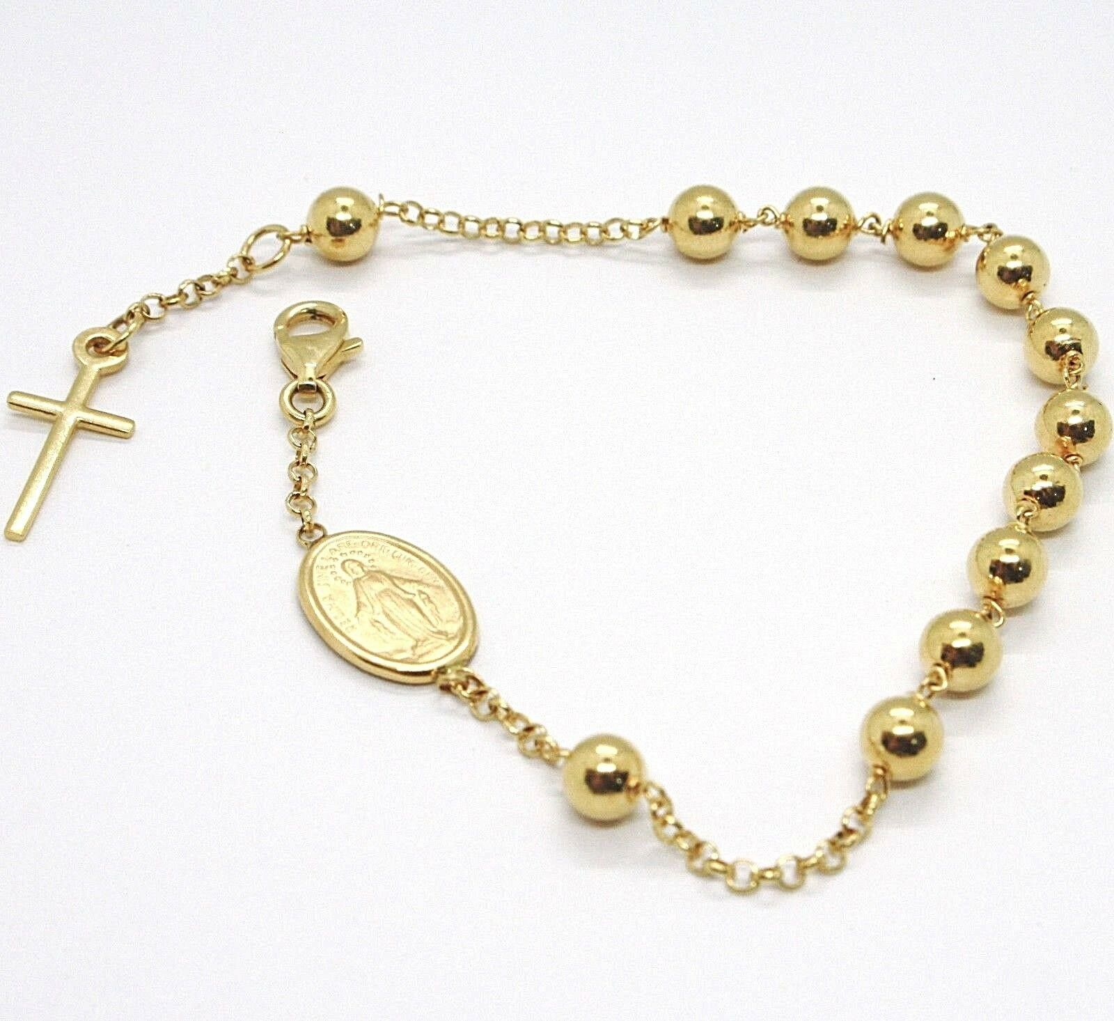 18K YELLOW GOLD  ROSARY BRACELET, 5 MM SPHERES, CROSS & MIRACULOUS MEDAL