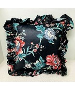 """English Floral Chintz Pillow Black w Floral Leaf Butterfly 18 """" SQ w Ruffle - $28.22"""