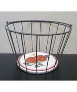 Vintage Hallmark Metal Apple Basket Ceramic Tile on Bottom by Jan Karon - $49.49