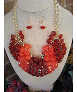 GOLDTONE CHAIN RED, CORAL, RUBY RED WATERFALL DROP NECKLACE & EARRINGS - $11.57