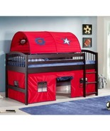 Espresso Junior Loft Wooden Twin Bunk Bed Blue Red Tent Kids Play Area L... - $459.26